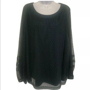 Ava & Viv 4X Green Lace Long Sleeve Blouse